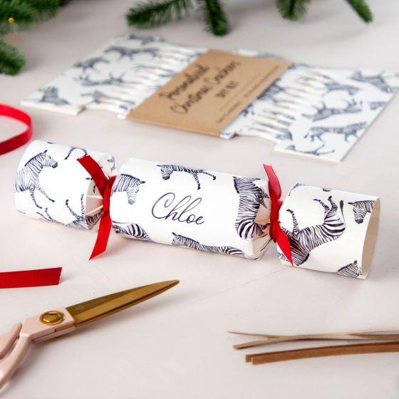 Monochrome Zebra Pattern Christmas Crackers
